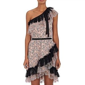 Floral Lace One-Shoulder Light Pink Black Dress